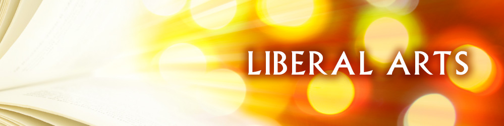 Liberal Arts banner with abstract open book in background